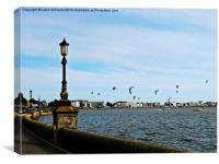 Kite Surfing at Poole Harbour., Canvas Print