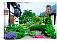 Cottage gardens in bloom.., Canvas Print