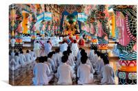 Cao Dai Worship Service, Vietnam, Canvas Print