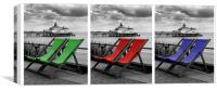 Eastbourne Pier & Deckchairs x 3, Canvas Print