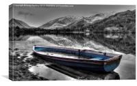 Blue Boat on Lake Grasmere, Canvas Print