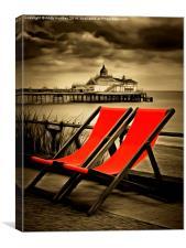 Eastbourne Pier plus deckchairs, Canvas Print