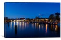 River Amstel, Amsterdam at Night, Canvas Print