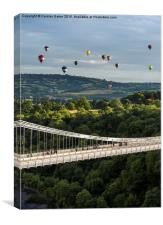 Balloons over the Clifton Suspension Bridge, Bris, Canvas Print