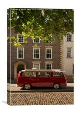 Red VW Campervan, Canvas Print