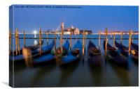 Venice, Gondolas After Dark, Canvas Print