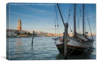 Moored up in Venice, Canvas Print