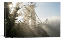 Winter Sun at the Clifton Suspension Bridge Bristo, Canvas Print