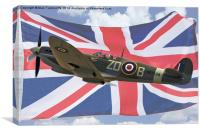 Spitfire and Union flag, Canvas Print