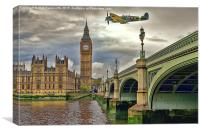 Spitfire over Big Ben , Canvas Print