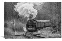 Steam train in black and white, Canvas Print
