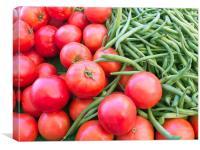 Farm Fresh Tomatoes and Beans, Canvas Print