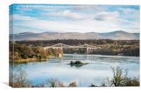 Blue Sky at Menai Bridge - Anglesey, Canvas Print