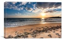 Cloudy sunset over a deserted beach of Crete, Canvas Print
