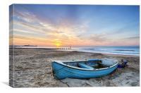 Blue Boat at Sunrise, Canvas Print
