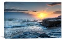 Sunset on a Cornish Beach, Canvas Print