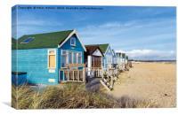Vibrant Luxury Beach Huts at Mudeford Spit, Canvas Print