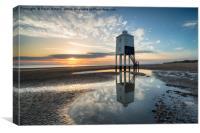 Sunset at Burnham on Sea, Canvas Print