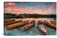 Stunning sunset over wooden rowing boats on Derwen, Canvas Print
