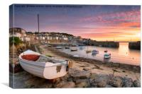 Sunrise over Fishing Boats at Mousehole, Canvas Print