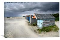 Beach Huts Under A Stormy Sky, Canvas Print