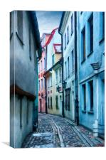 Riga Narrow Street Painting, Canvas Print
