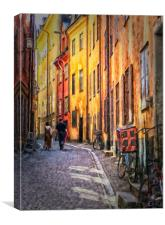 Stockholm Gamla Stan Painting, Canvas Print
