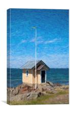 Torekov Beach Hut Painting, Canvas Print