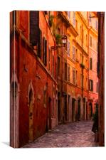 Rome Narrow Street Painting, Canvas Print