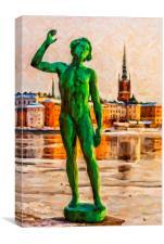 Stockholm Statue Digital Painting, Canvas Print
