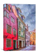 Riga Street Painting, Canvas Print