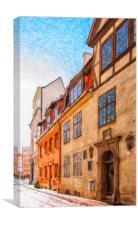 Riga Old Narrow Street Digital Painting, Canvas Print