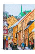 Helsingborg Narrow Street Painting, Canvas Print