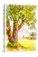 Hovdala Slott digital watercolor painting, Canvas Print