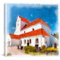 Dalby Kloster Digital Watercolor Painting, Canvas Print