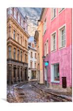 Riga Narrow Road Digital Painting, Canvas Print