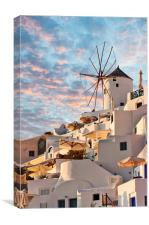 Santorini Windmill at Oia, Canvas Print