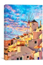 Santorini Windmill at Oia Digital Painting, Canvas Print