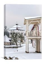 Hovdala Castle Balcony in Winter, Canvas Print