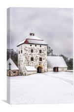 Hovdala Castle Courtyard in Winter, Canvas Print