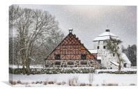 Hovdala Castle Gatehouse and Stables in Winter, Canvas Print