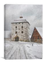 Hovdala Castle Gatehouse in Winter, Canvas Print