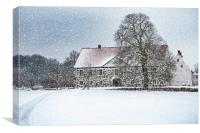 Hovdala Castle Main house in Winter, Canvas Print