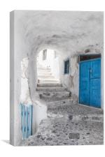 Narrow Alley and stairway on Santorini, Canvas Print