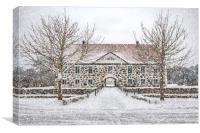 Hovdala Castle Main house in Winter, Canvas Print
