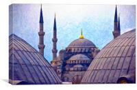 Blue Mosque From Hagia Sophia Digital Painting, Canvas Print