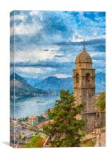 Kotor Church of Our Lady Digital Painting, Canvas Print