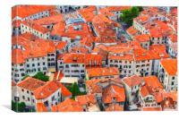 Montenegro Kotor Rooftops Digital Painting, Canvas Print