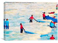 Learning To Surf, Canvas Print