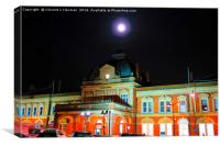 Full Moon Above Norwich Train Station, England, Canvas Print